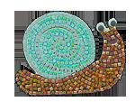 river barn mosaic snail