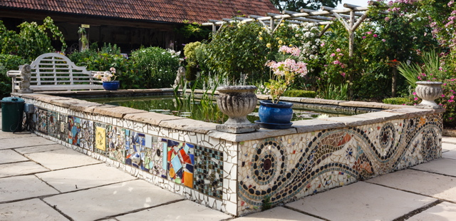 mosaic, pond, courtyard